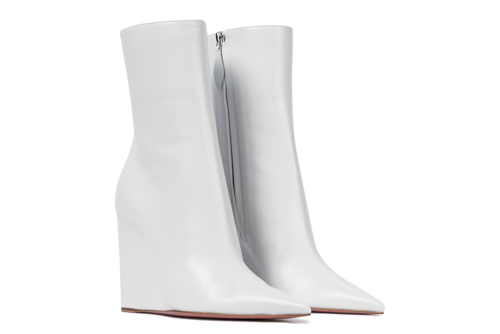 amina muaddi boots, wedge boots, white leather boots