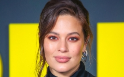Ashley Graham, black turtleneck dress, black