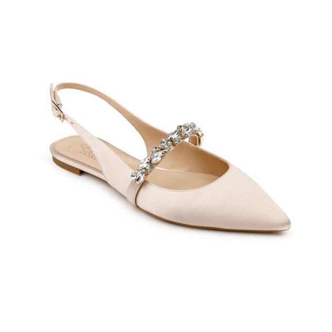 badgley mischka jewel skimmer, best flat wedding shoes