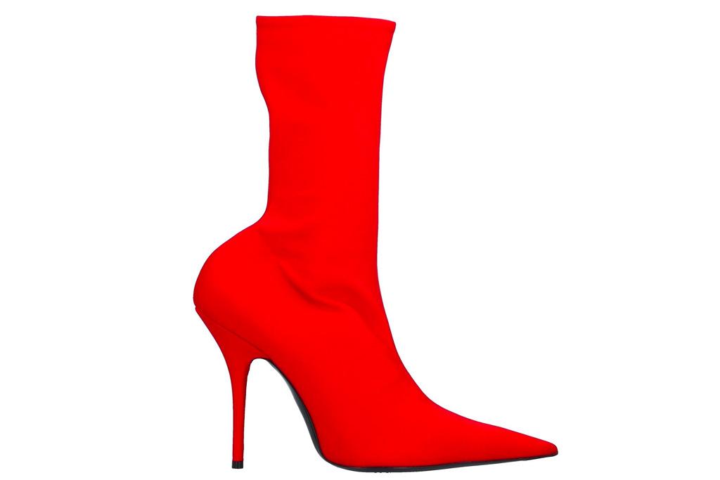 balenciaga, red, boots, sock