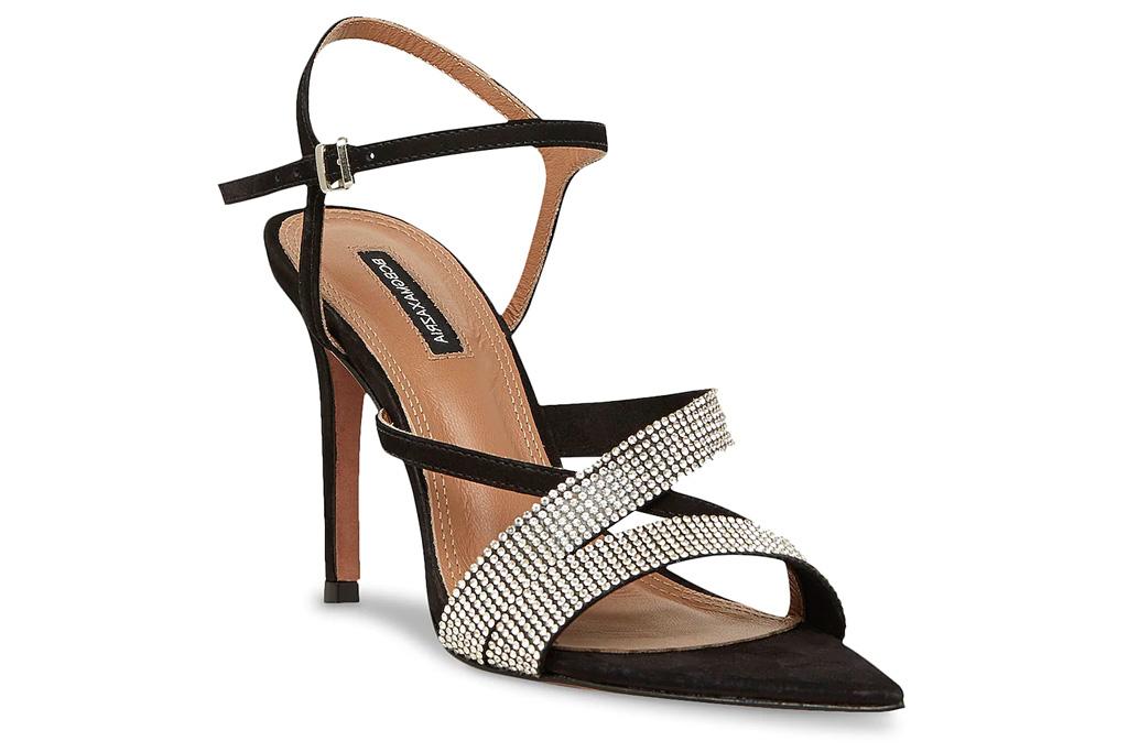 glittering sandals, black heels, bcbg