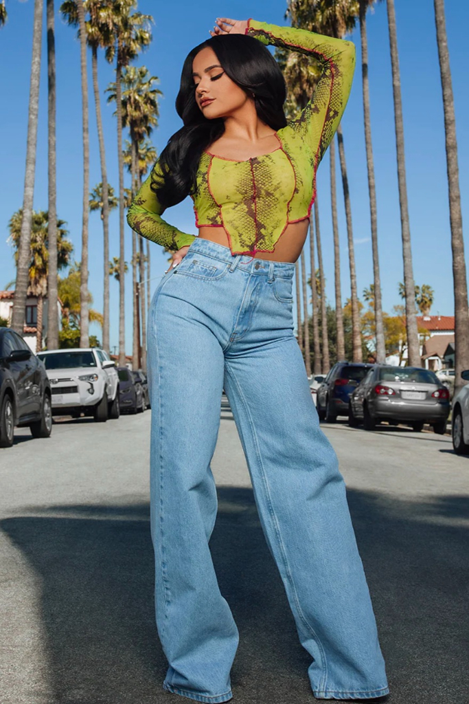 becky g, prettylittlething, acid blue wash wide leg jeans