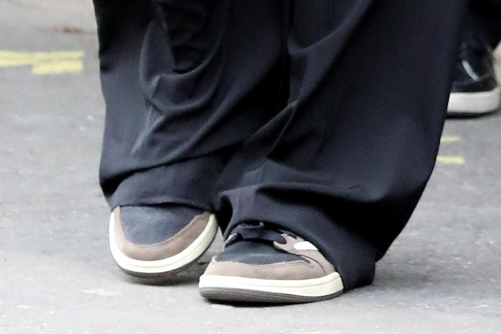 bella hadid, pants, leather vest, sneakers, travis scott, cactus jack, suit, tie, air jordan