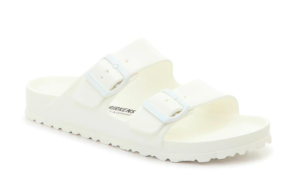 white sandals, double strap, birkenstock