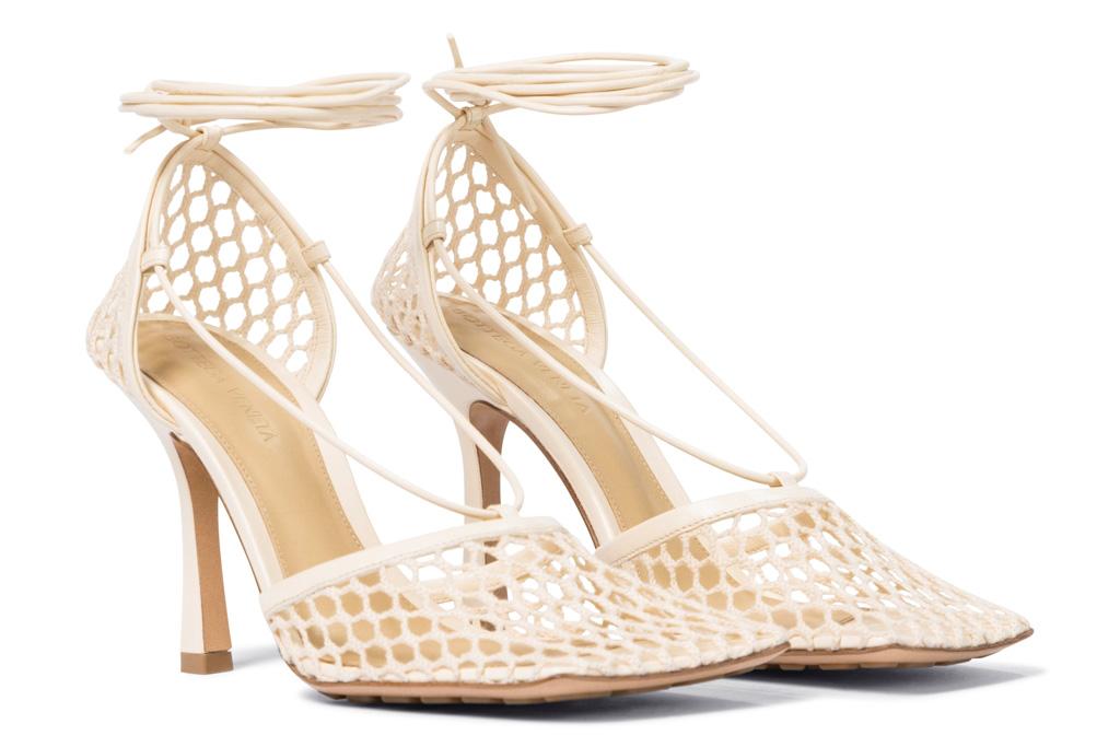 bottega veneta, stretch sandals, heels, mesh