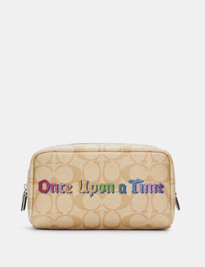 Disney X Coach Small Boxy Cosmetic Case In Signature Canvas With Once Upon A Time