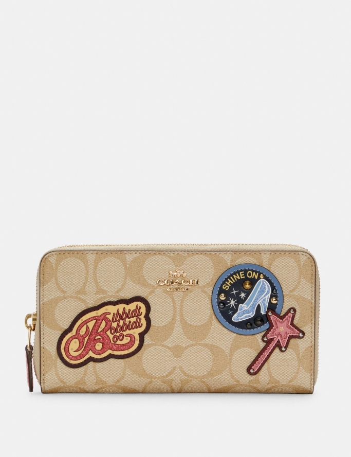 Disney x Coach Accordion Zip Wallet In Signature Canvas With Patches