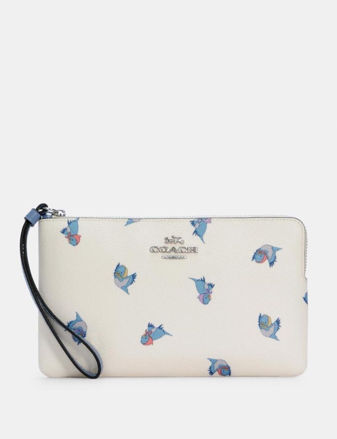 Disney x Coach Large Corner Zip Wristlet With Cinderella Flying Birds Print