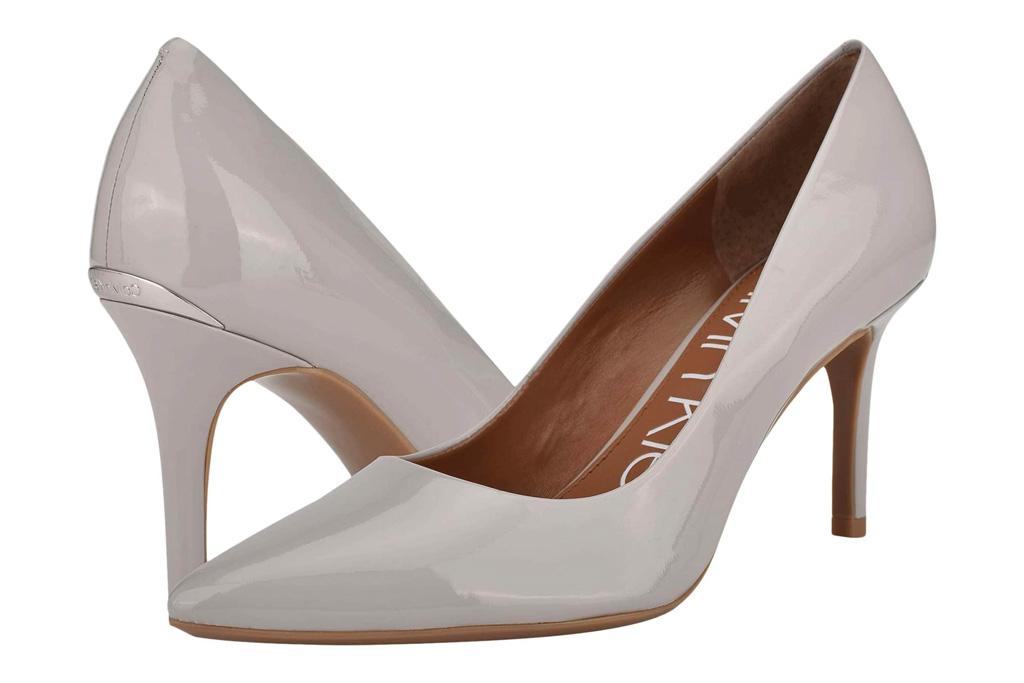gray heels, pumps, calvin klein