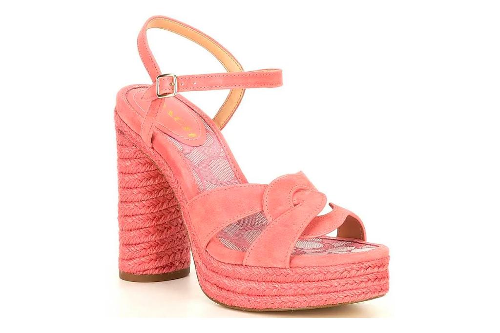 pink sandals, platform, coach