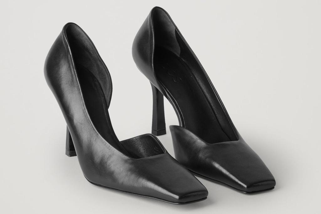 black heels, pumps, square toe, cos