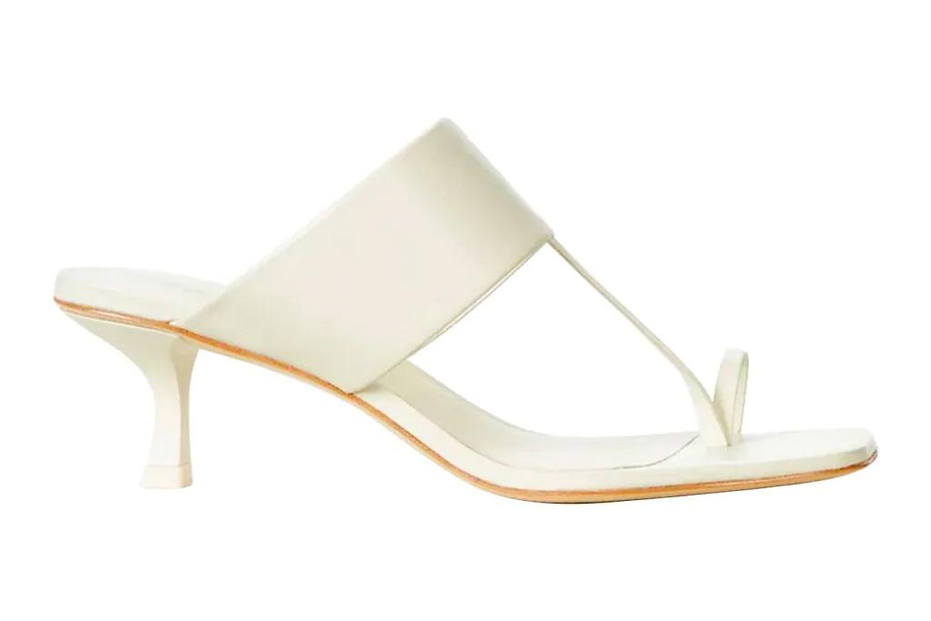 white sandals, loop toe, cult gaia