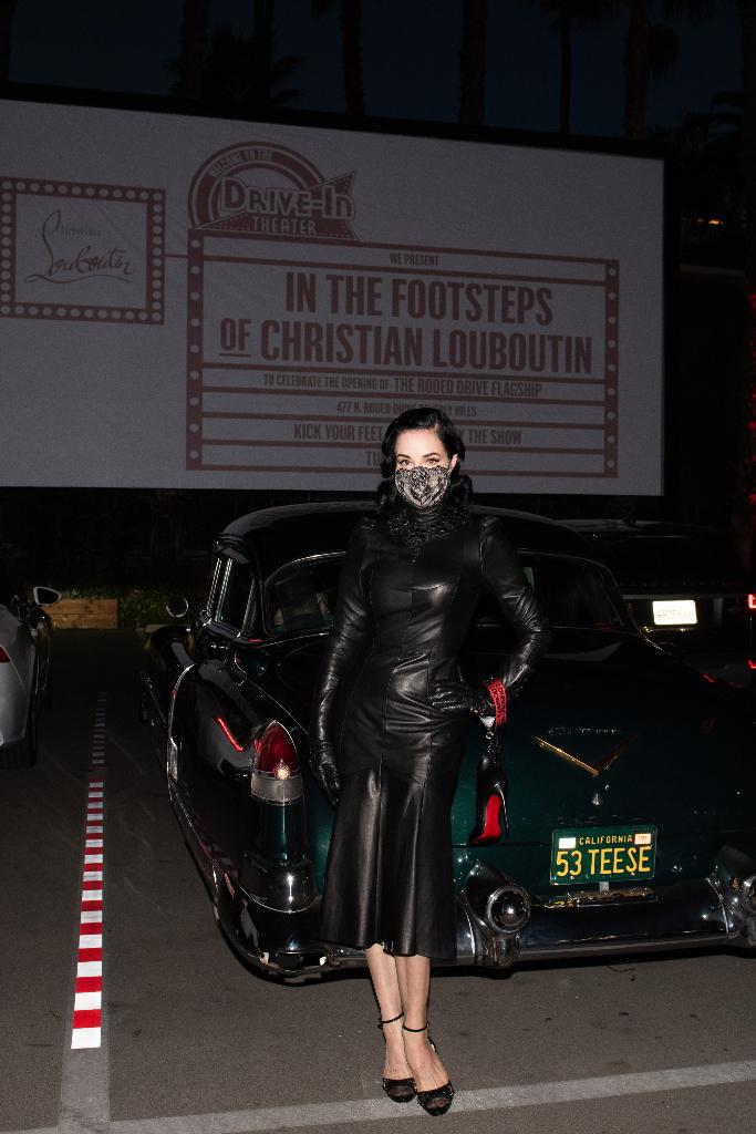 dita von teese, leather dress, heels, christian louboutin