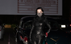 Dita Von Teese, black leather dress,
