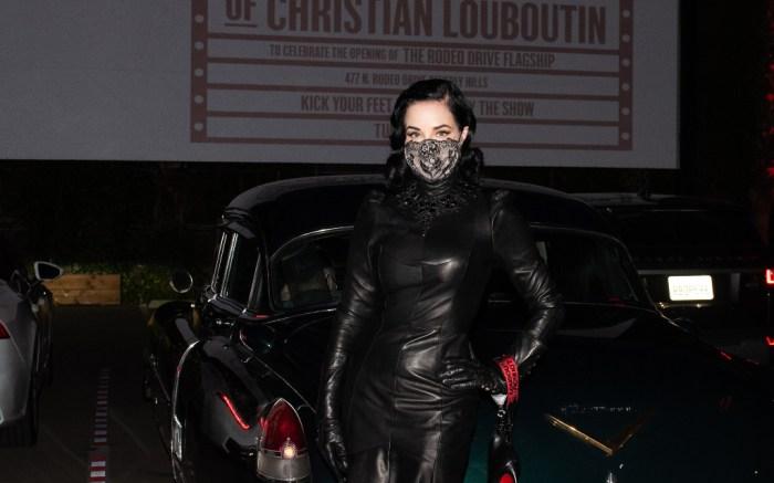Dita Von Teese, black leather dress, heels, christian louboutin