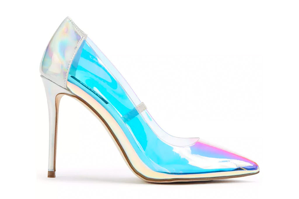 iridescent heels, pumps, pointed-toe, dkny