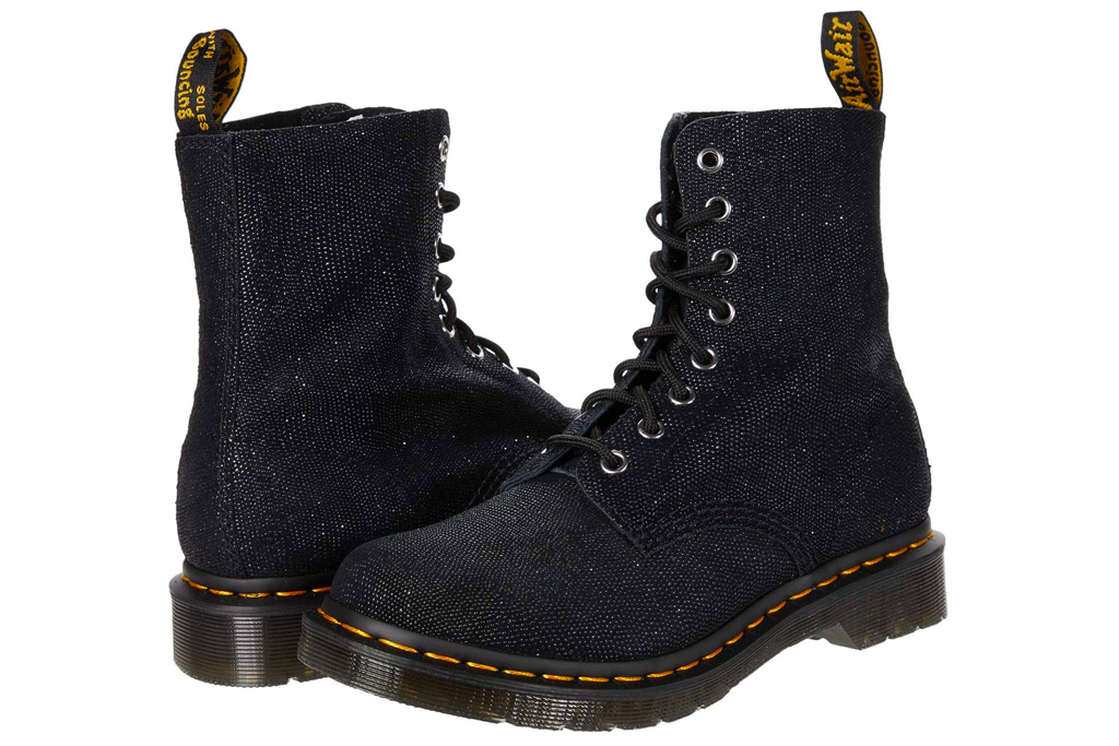boots, combat boots, glitter, dr martens