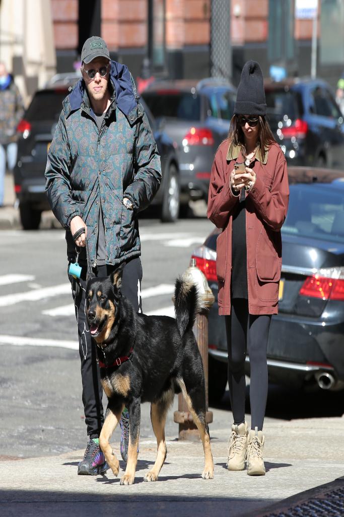 Sebastian Bear-Mcclard, Emily Ratajkowski, jacket, leggings, yeezy boots
