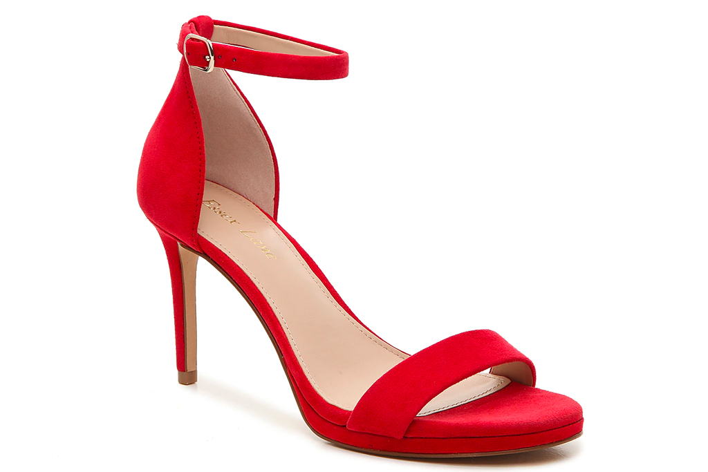 red sandals, heels, essex lane