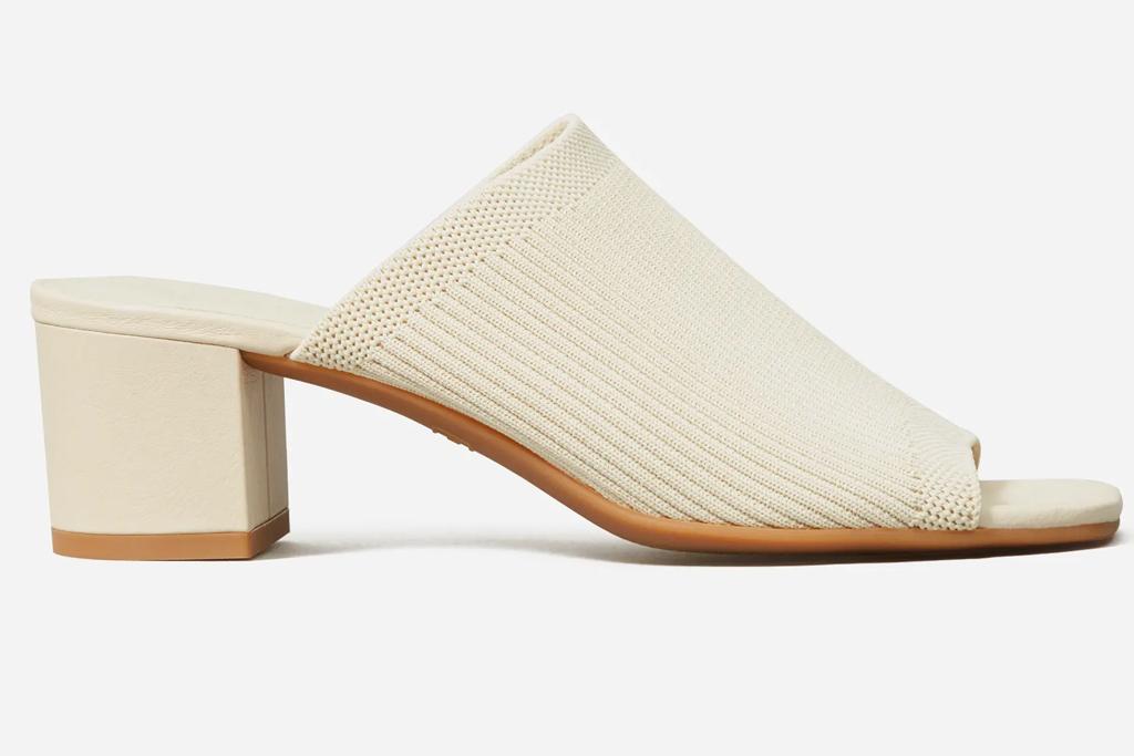 white mules, sandals, square toe, everlane