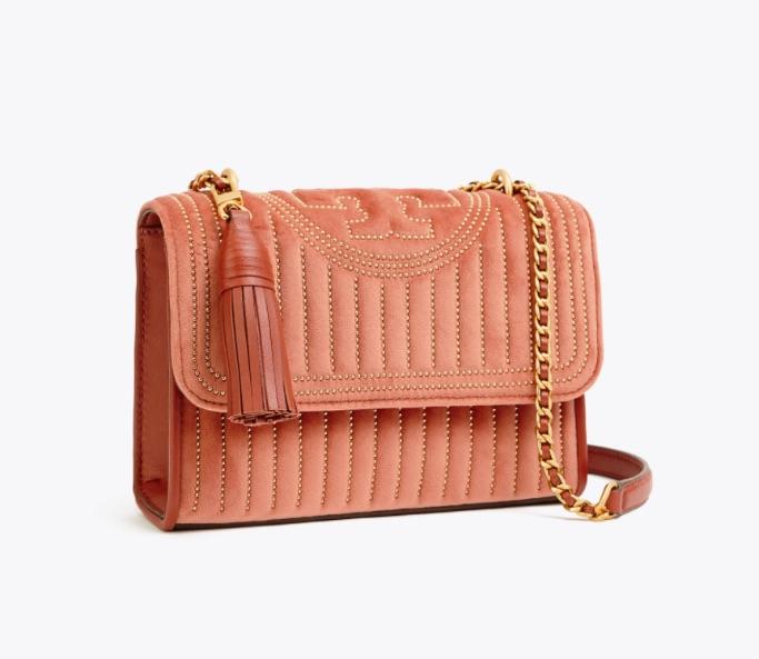 Fleming Velvet Convertible Stud Shoulder Bag, Tory Burch sale
