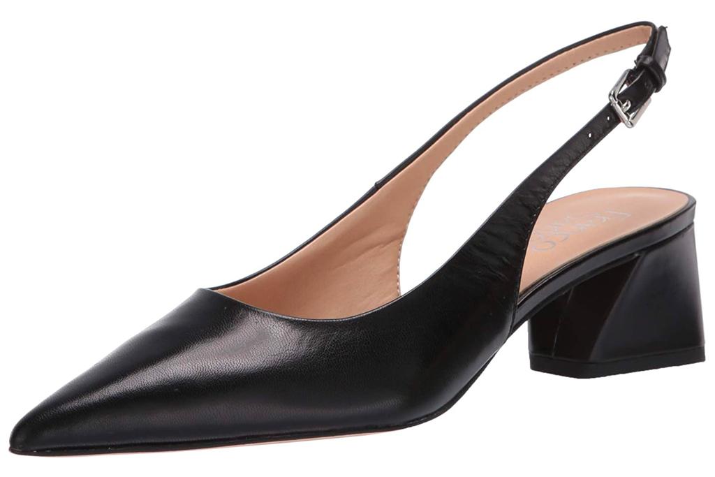 black heels, pumps, slingback, franco sarto