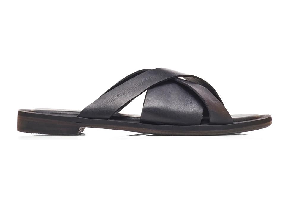 free people slides, black leather slides, leather sandals
