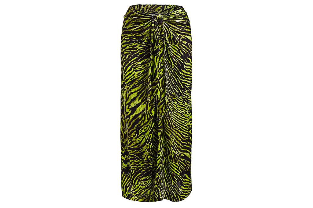 zebra skirt, green, black, ganni