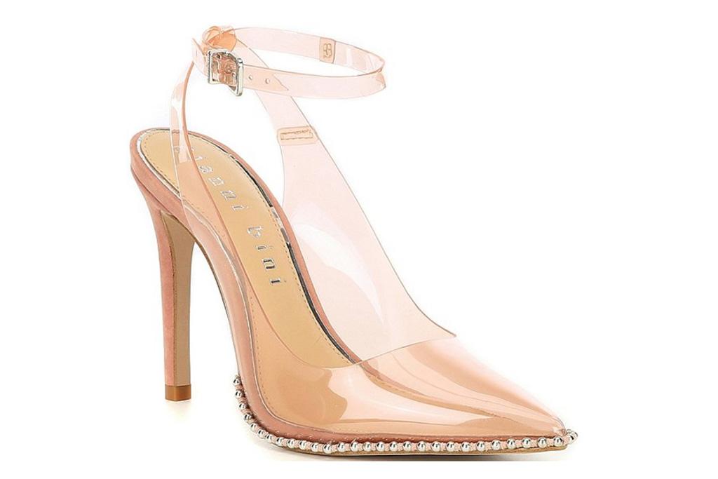 clear heels, pointed toe, gianni bini