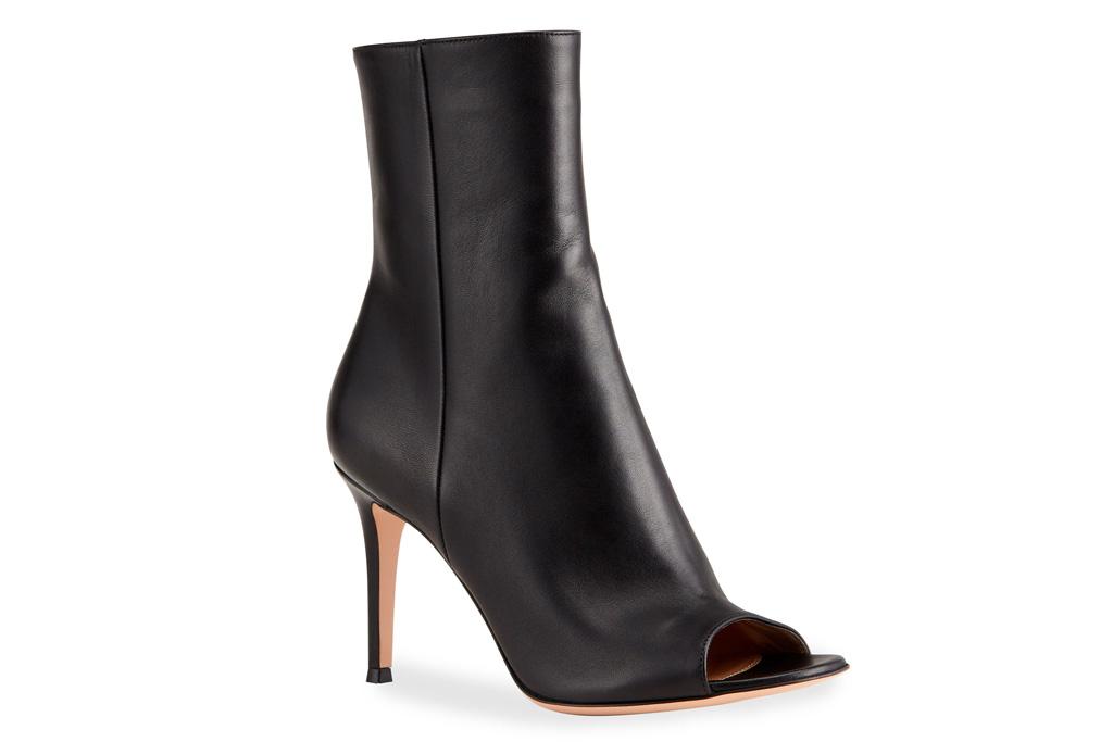 peep toe booties, boots, heels, black, gianvito rossi