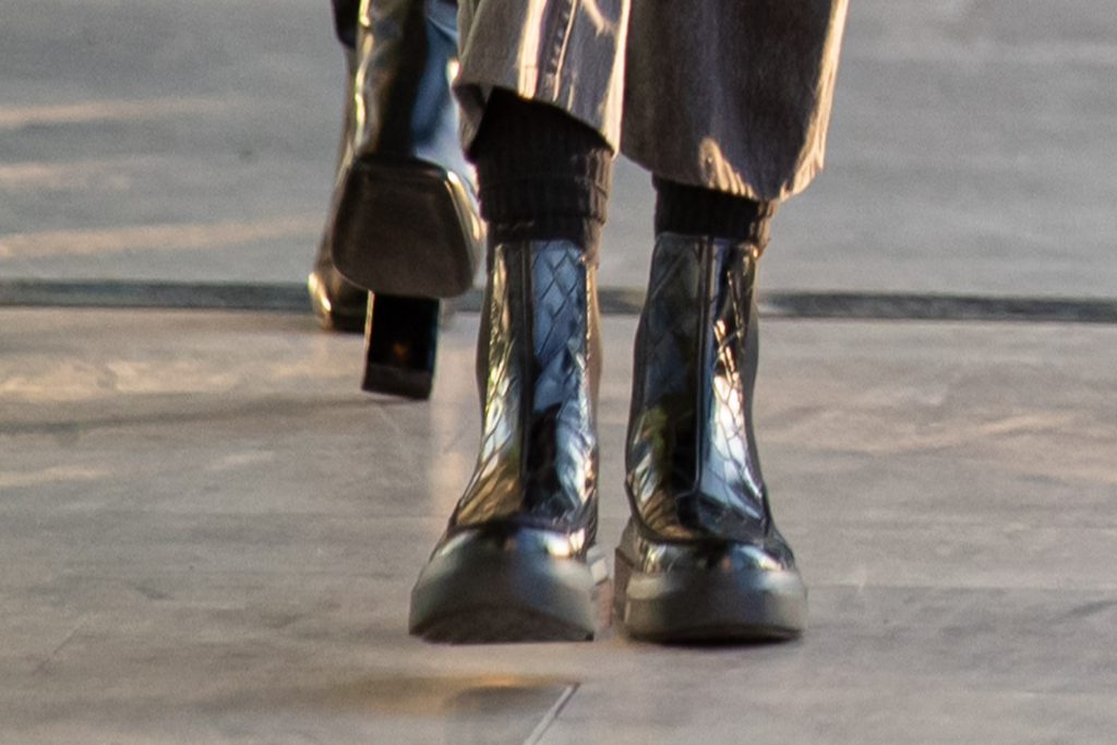 gigi hadid, black ankle boots, milan, italy