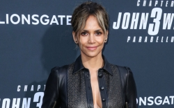 halle berry, black leather top, black