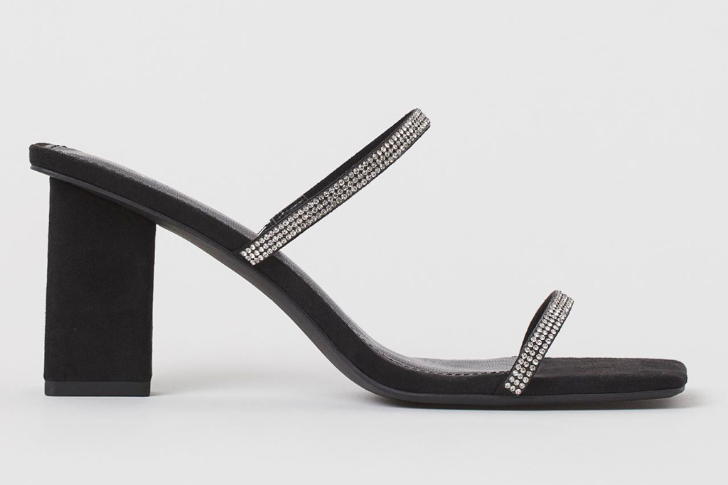 glittering sandals, black heels, h&m