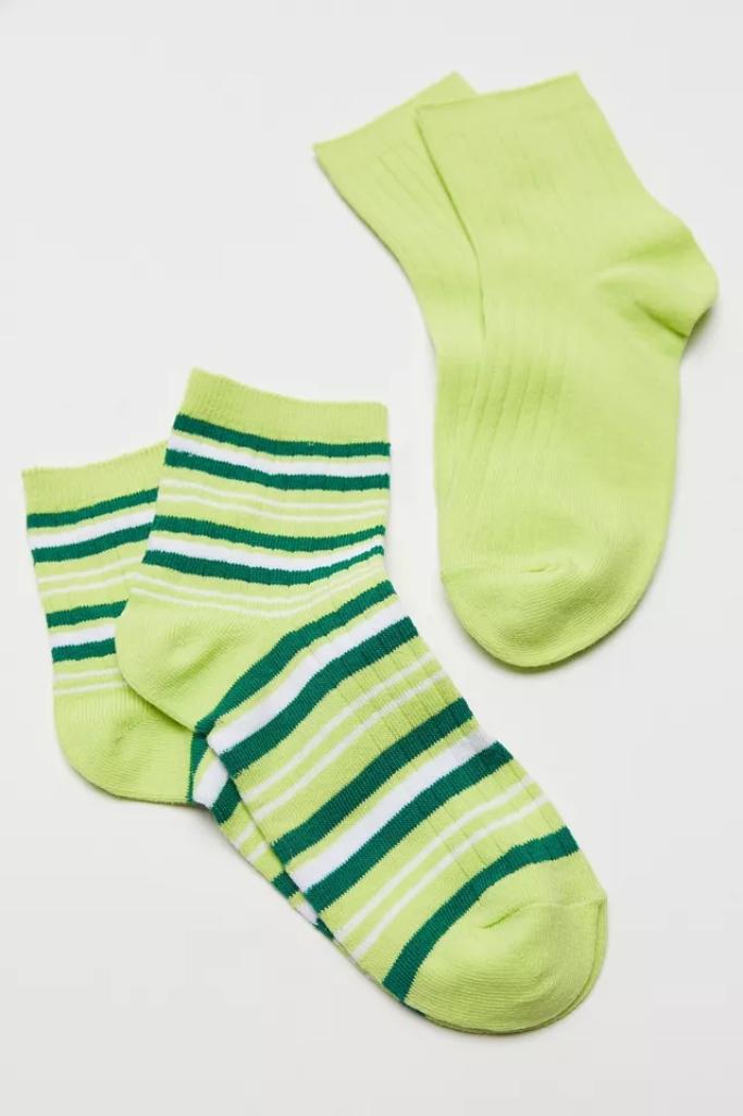 green socks, st. patrick's day, BDG Kelly Ribbed Quarter Sock 2-Pack