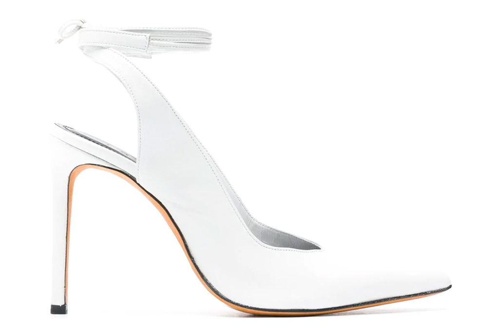 white heels, pumps, ankle wrap, iro