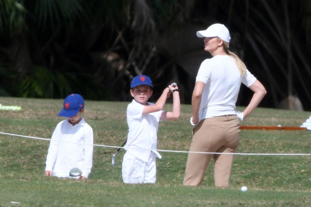 ivanka trump, golf, miami, cropped pants, golf shoes, tee, hat, jared kushner, sons, theodore, joseph, miami