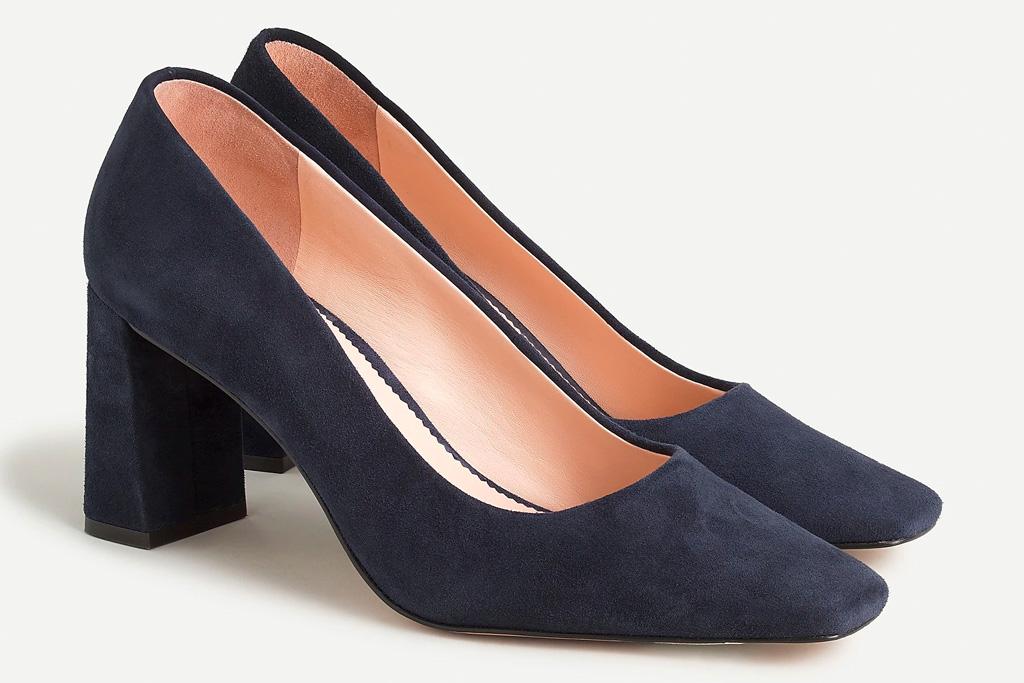 navy heels, pumps, block heel, j.crew