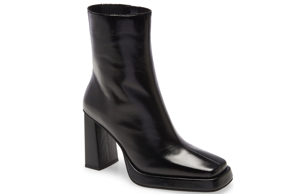 black boots, square toe, jeffrey campbell