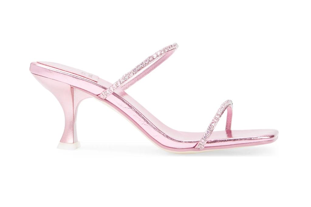 jeffrey campbell sandal, pink sandal, bejeweled sandal