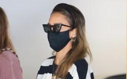 jessica alba, la, black face mask,