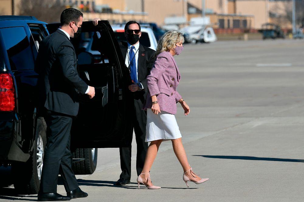 Jill Biden Is Springy in a Lilac Blazer, White Dress