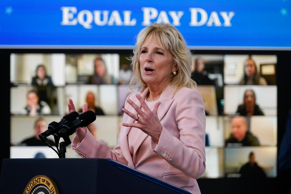 jill biden, pink blazer, coat, dress, heels, white house, equal pay day, megan rapinoe, joe biden, margaret purce, white house