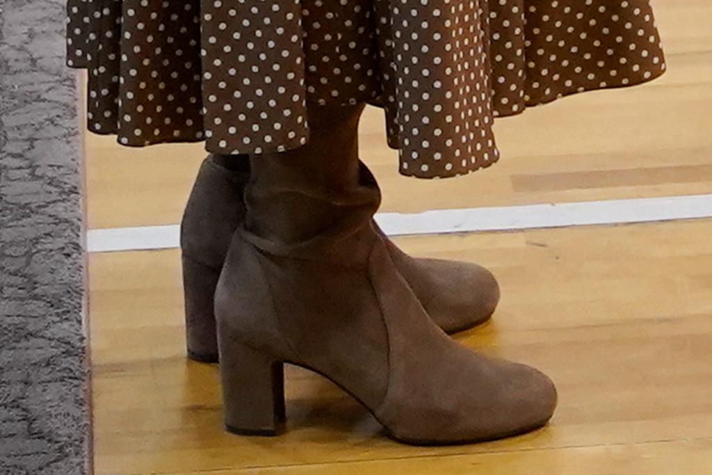jill biden, polka dot dress, dress, boots, knee high boots, washington state, children museum, military families, military base