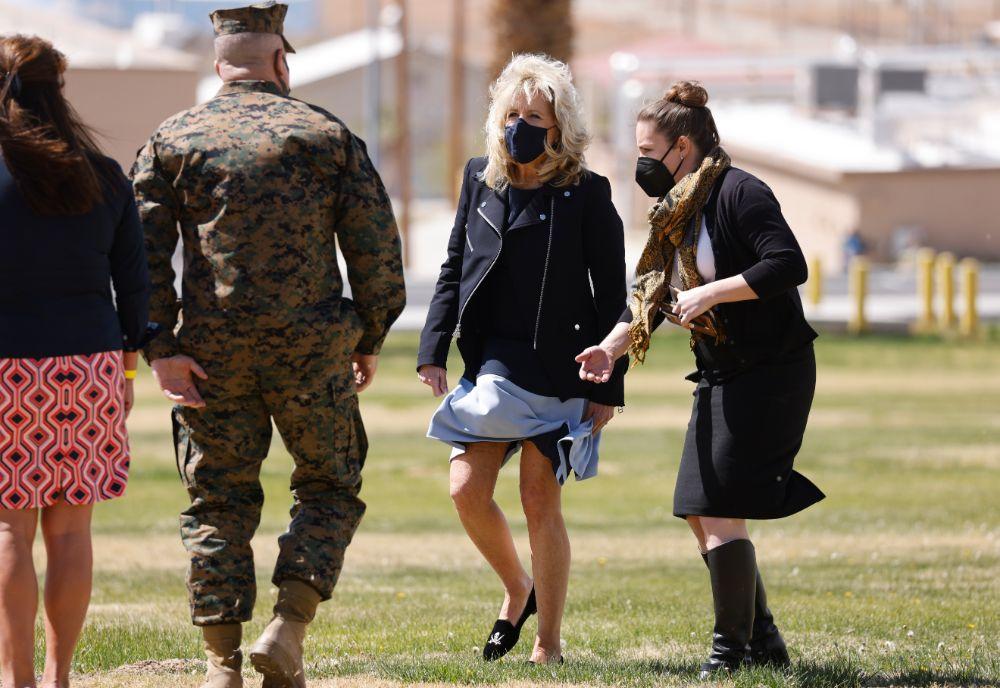 jill biden, dress, moto jacket, leather jacket, loafers, pirate shoes, slippers, california, marine base, visit