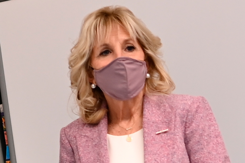 Jill Biden Preps for Spring in a Lilac Blazer, Glowing White Dress & Tied-Up Heels