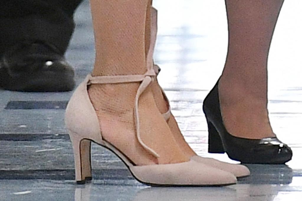 Jill biden, dress, white dress, pink blazer, heels, tie heels, Connecticut, school, education, face mask, tights