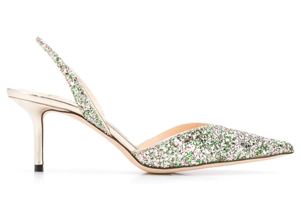 glitter heels, slingback, jimmy choo
