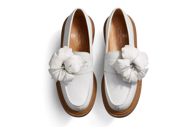 jm weston loafers, lillies, white