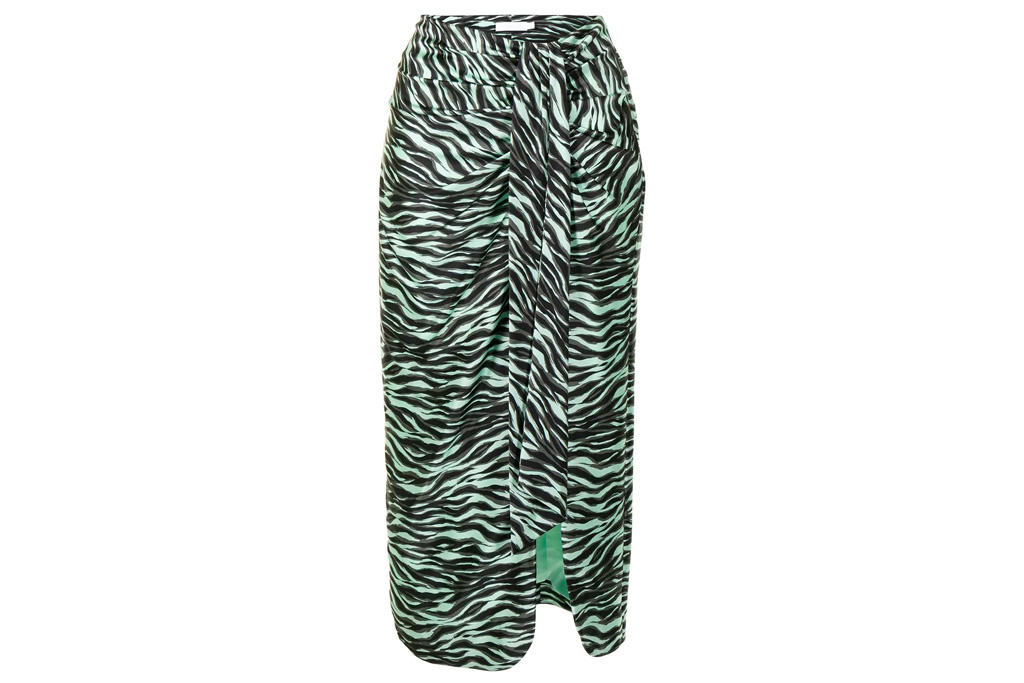 zebra skirt, green, black, jonathan simkhai