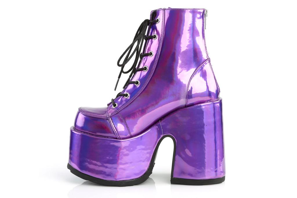 purple boots, platform